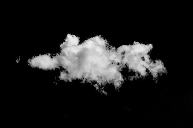 Nuvem branca e encaracolada em um fundo preto isolado para sobreposição de imagens em projetos de design
