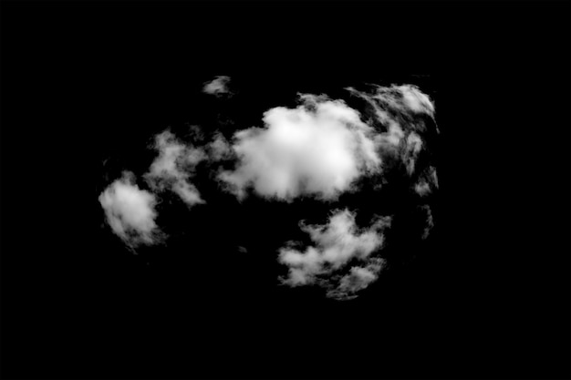 Nuvem branca isolada em fundo preto. foto de alta qualidade