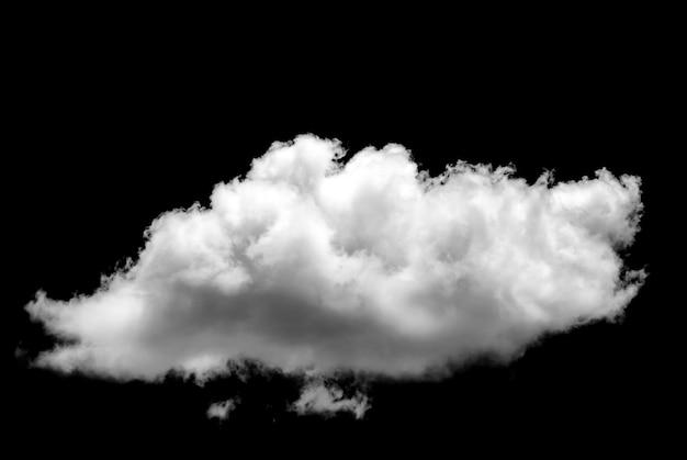 Nuvem branca isolada em uma nuvem realística do fundo preto.