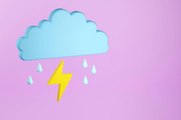 Nuvem com ícone de raios e gotas de chuva renderização em 3d