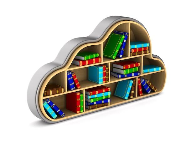 Nuvem com livros isolados na ilustração em 3d branco