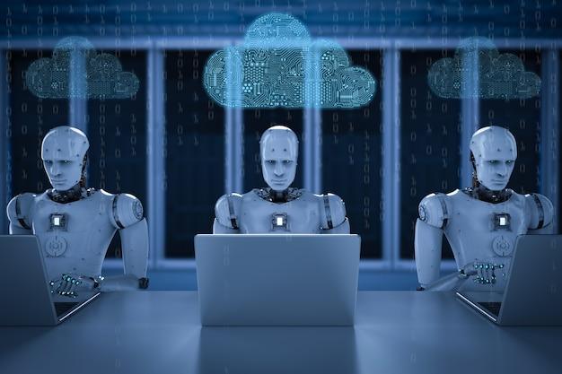 Nuvem de circuito de renderização 3d com robô humanóide na sala do servidor