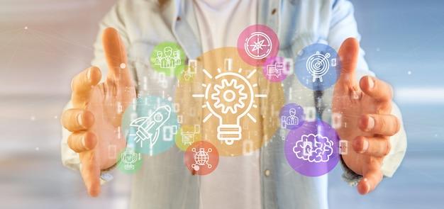Nuvem, de, coloridos, startup, ícone, bolha, com, dados