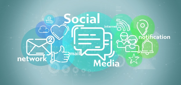 Nuvem de ícone de rede de mídia social