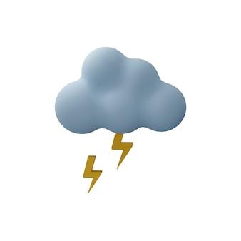 Nuvem de trovão 3d com ilustração de trovão isolada no fundo branco. ícone do tempo 3d com nuvem de tempestade e trovões.