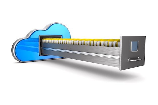 Nuvem e armário de arquivo isolados