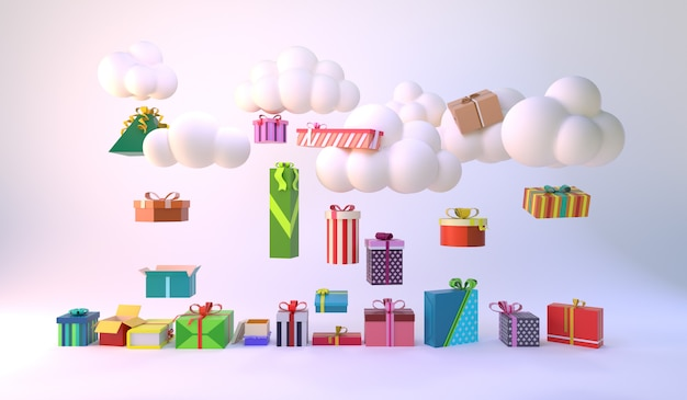 Nuvem mínima flutuando acima de várias caixas de presente. ideia mínima. 3d render.