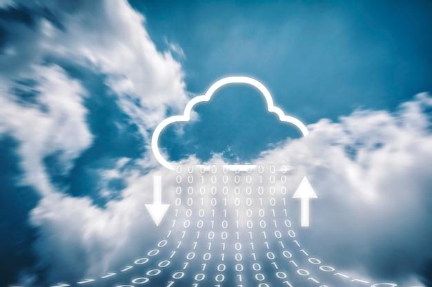 Nuvem transferindo armazenamento de dados e backup em nuvem.