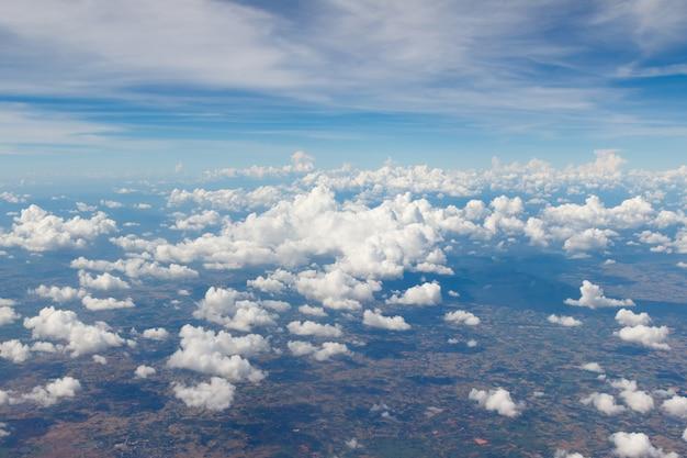 Nuvem, vista, de, a, nuvens, visto, de, avião, janela