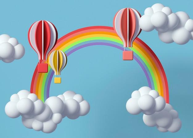 Nuvens 3d e balões de ar quente