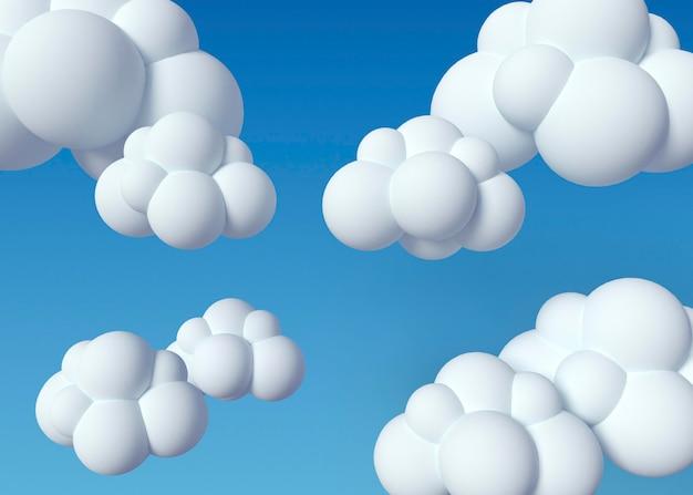 Nuvens brancas 3d e fundo azul