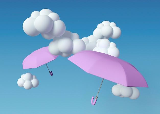 Nuvens brancas 3d e guarda-chuvas