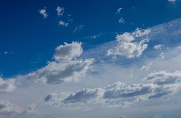 Nuvens brancas com tempo bom de fundo de céu azul.