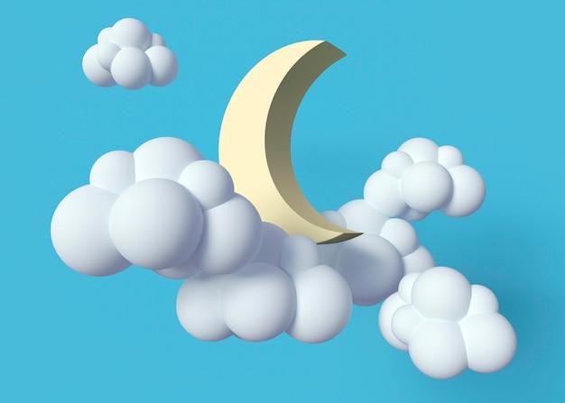 Nuvens brancas e arranjo de lua