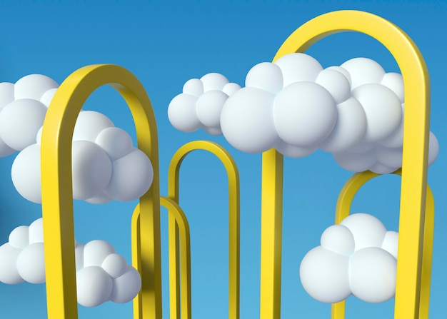Nuvens brancas e formas amarelas