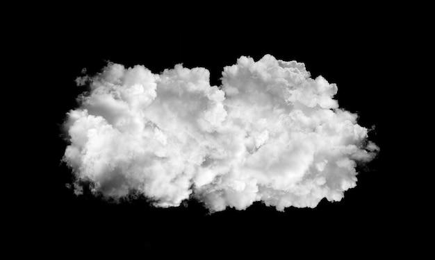 Nuvens brancas isoladas em fundo preto