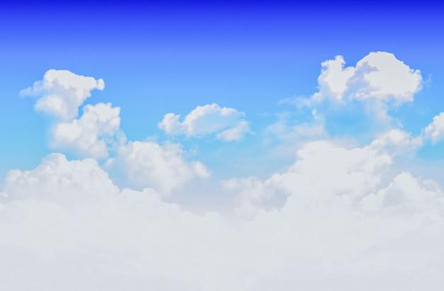 Nuvens brancas no fundo do céu azul.
