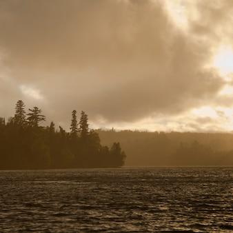 Nuvens, céu, sobre, lago, madeiras, ontário