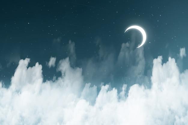 Nuvens cheias de uma estrela na noite