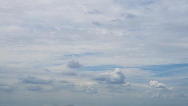 Nuvens cumulus com céu azul em um dia ensolarado de verão. cloudscape bonito como panorama de fundo da natureza. clima maravilhoso de luz natural com nuvem branca flutuando, criando uma forma abstrata