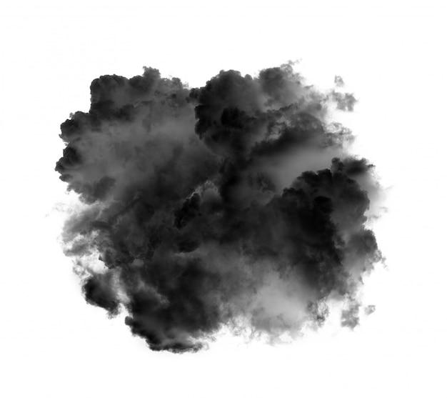 Nuvens negras ou fumaça isolado no branco