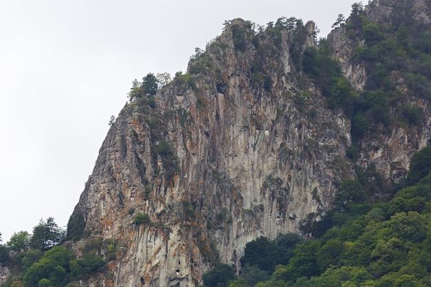 Nuvens no topo das montanhas rochosas cobertas de árvores