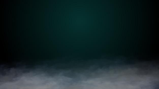 Nuvens realistas fumam gelo seco de nevoeiro no chão fundo de halloween