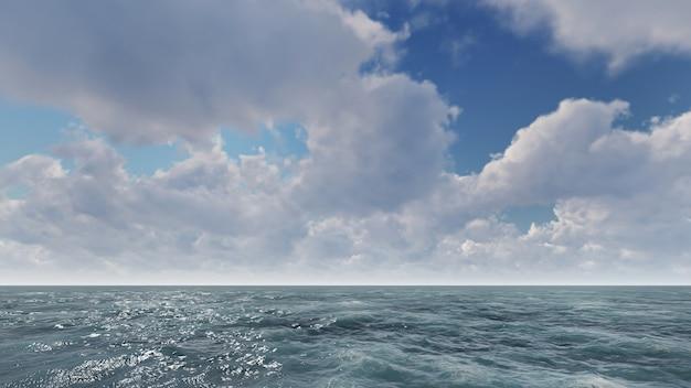 Nuvens sobre o mar brilhante