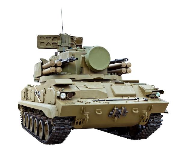 O 2k22 tunguska é uma arma antiaérea automotora de rastreio russa armada com um canhão superfície-ar e sistema de mísseis isolado no branco