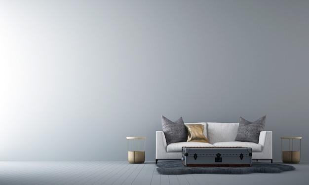 O aconchegante design de interiores e móveis de sala de estar e textura de parede