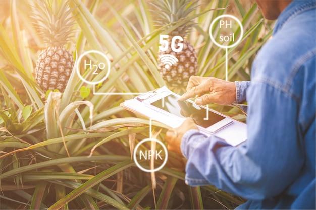 O agricultor com tablet em campo usando aplicativos e internet das coisas em produção e pesquisa