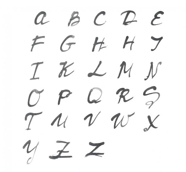 O alfabeto escrito em papel branco