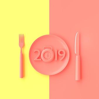 O ano novo 2019 conceito e cronometra a cor cor-de-rosa na placa com forquilha e faca.