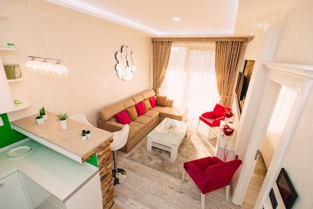 O apartamento-estúdio. projete pequenos apartamentos em hotel