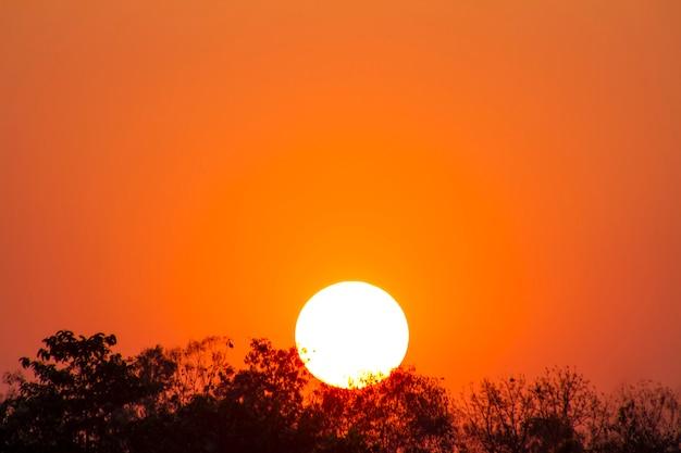 O aquecimento global do sol e queima, onda de calor sol quente, mudança climática