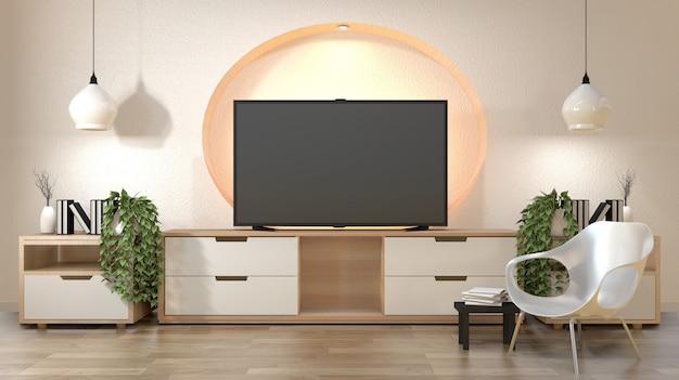 O armário da tevê na parede vazia moderna do projeto da prateleira da sala escondeu a luz japonesa - estilo do zen, projetos mínimos.