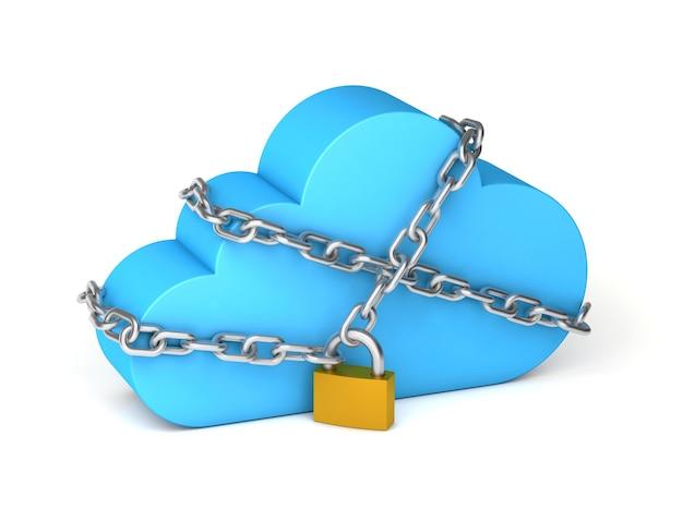 O armazenamento em nuvem é fechado cadeado com corrente proteção de informações pessoais isolada