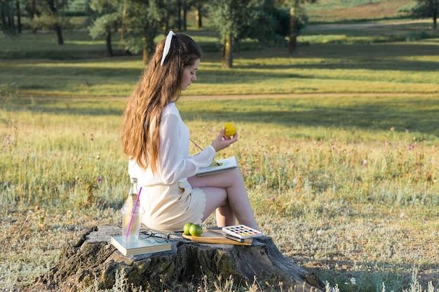 O artista pinta um quadro ao ar livre no início da manhã ensolarada.