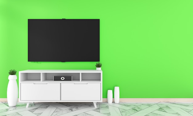 O assoalho de telha do granito do projeto do armário na parede verde, estilo mínimo do zen dos projetos, rendição 3d