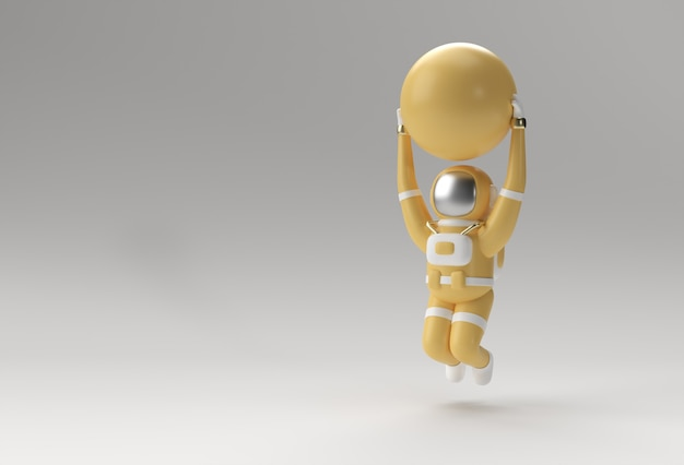 O astronauta pula com a bola de estabilidade fazendo exercícios, ilustração de renderização em 3d.