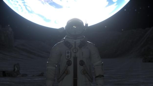 O astronauta sozinho está na superfície da lua, tendo como pano de fundo o planeta terra. renderização 3d.