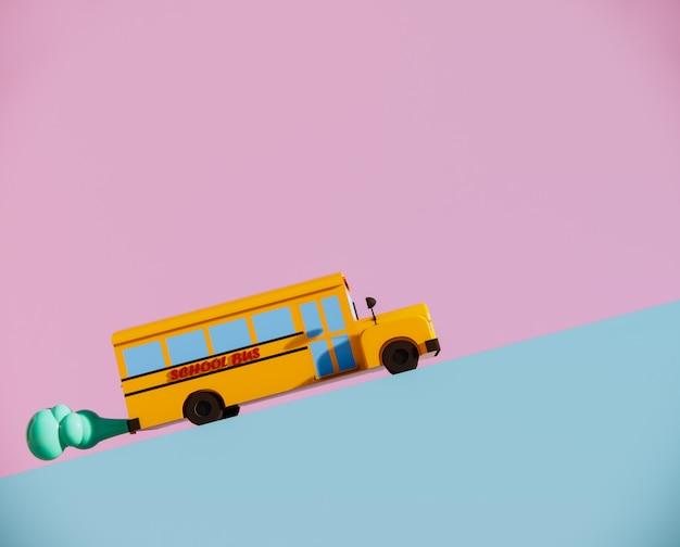 O auto escolar bonito na estrada 3d rende.