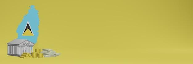 O banco com moedas de ouro em santa lúcia para capas de plano de fundo de tv e sites de mídia social pode ser usado para exibir dados ou infográficos em renderização 3d.
