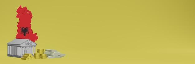 O banco com moedas de ouro na albânia para capas de plano de fundo de tv e sites de mídia social pode ser usado para exibir dados ou infográficos em renderização 3d.