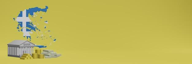 O banco com moedas de ouro na grécia para capas de plano de fundo de tv e site de mídia social pode ser usado para exibir dados ou infográficos em renderização 3d.