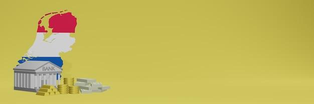O banco com moedas de ouro na holanda para capas de plano de fundo de tv e sites de mídia social pode ser usado para exibir dados ou infográficos em renderização 3d.