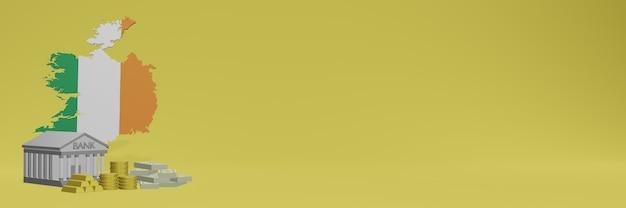 O banco com moedas de ouro na irlanda para capas de plano de fundo de tv e site de mídia social pode ser usado para exibir dados ou infográficos em renderização 3d.