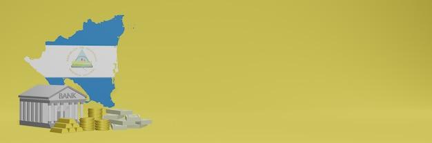 O banco com moedas de ouro na nicarágua para capas de plano de fundo de tv e site de mídia social pode ser usado para exibir dados ou infográficos em renderização 3d.