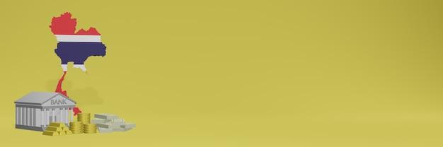 O banco com moedas de ouro na tailândia para capas de plano de fundo de tv e site de mídia social pode ser usado para exibir dados ou infográficos em renderização 3d.