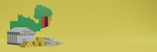 O banco com moedas de ouro na zâmbia para capas de plano de fundo de tv e sites de mídia social pode ser usado para exibir dados ou infográficos em renderização 3d.